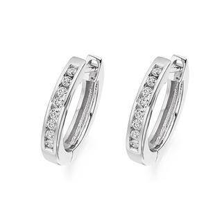 Channel-Set Diamond Hoop Earrings In 9K White Gold(0.32ct tw)