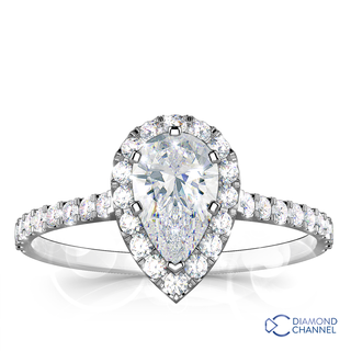Pear Cut Halo Diamond Engagement Ring (0.78ct tw)