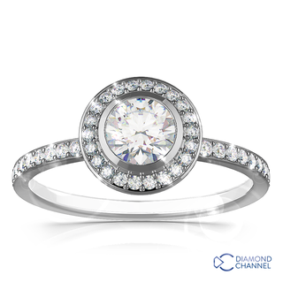 Tube Set Halo Pave Diamond Engagement Ring ( 0.93ct tw)