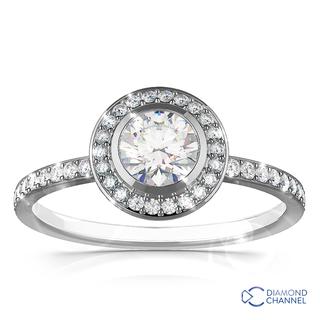 Tube Set Halo Pave Diamond Engagement Ring ( 0.93ct tw)