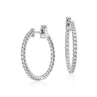 Large Diamond Hoop Earrings in 9K White Gold (1.00ct tw)