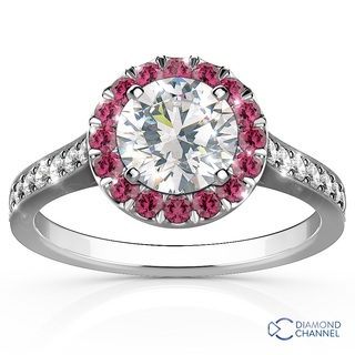 Halo Flower Design with Amethyst and Diamond Engagement Ring (0.59ct tw)