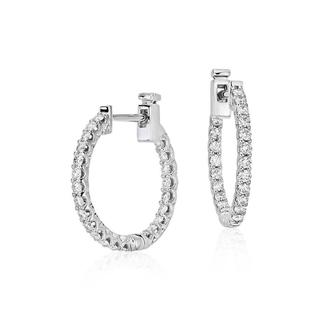 Classic Diamond Hoop Earrings In 9k White Gold(0.40ct tw)