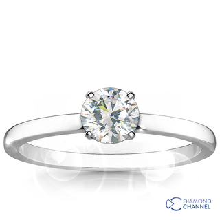 Classic Four Claw Solitaire Engagement Ring (RBC-0.53ct)
