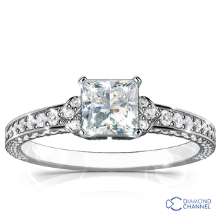 Micro Pave Set Side Stone Engagement Ring (0.87ct tw)