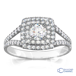 Double Halo Diamond Engagement Ring (1.16ct tw)