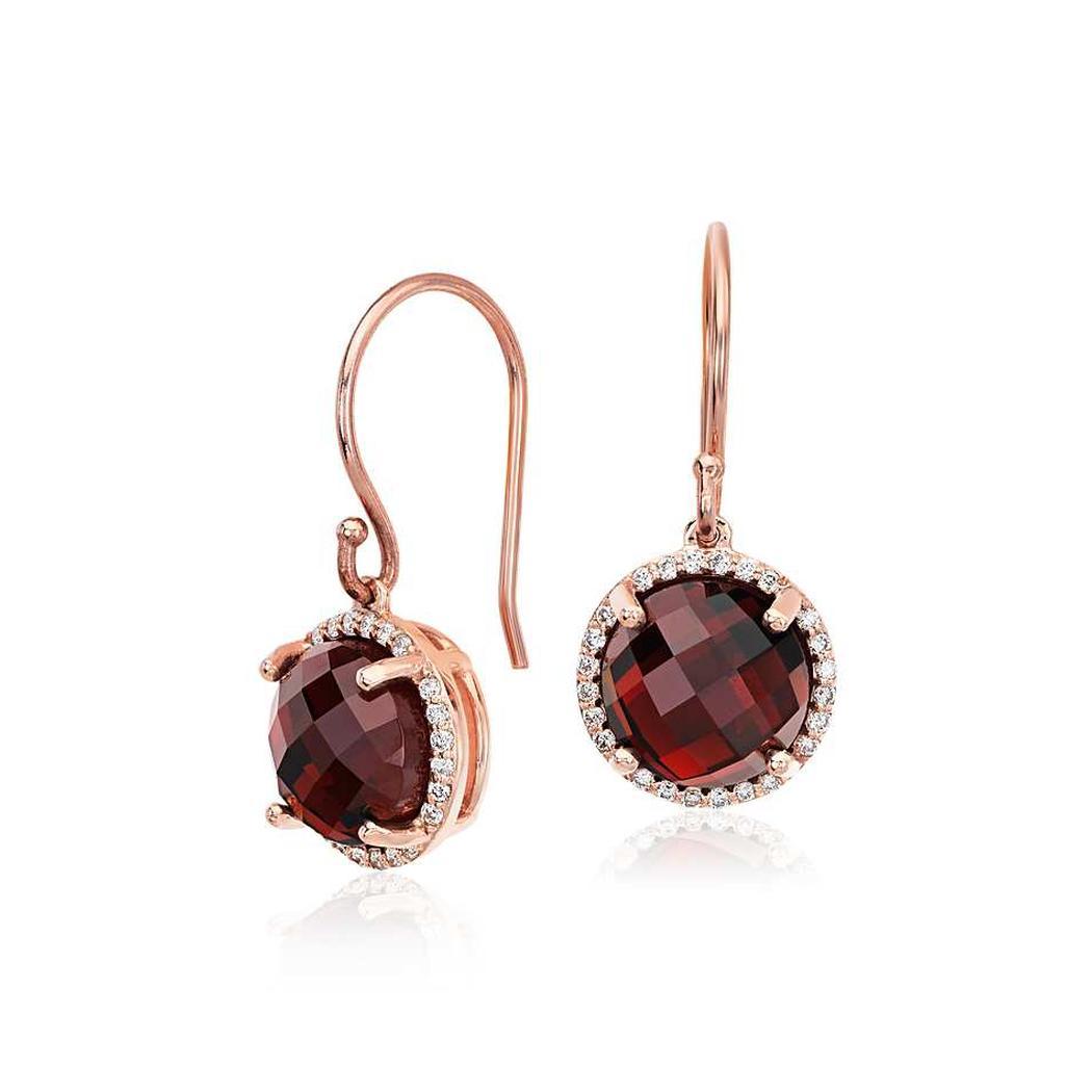 Garnet And Diamond Drop Earrings In 9k Rose Gold 8mm The Diamond Channel Johannesburg