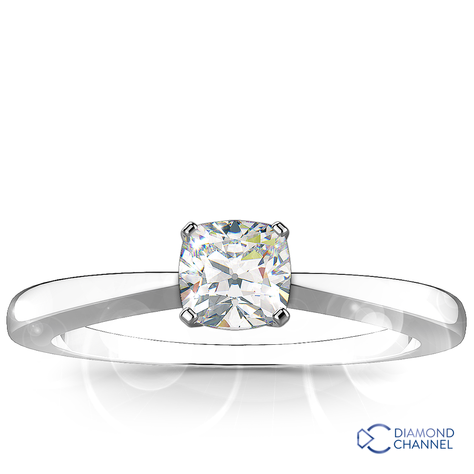 Cushion Cut Solitaire Diamond Engagement Ring Set In 9k White Gold