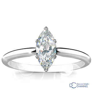 Marquise Cut Solitaire Diamond Ring (MRQ-0.37ct tw)