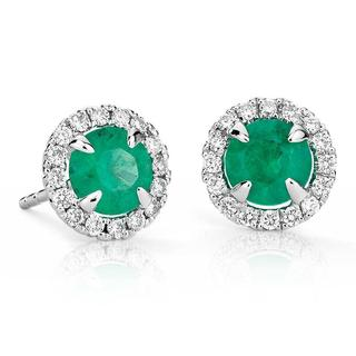 Emerald and Micropave' Halo Earrings