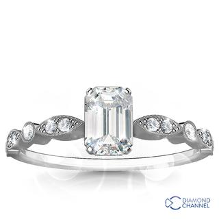 Milgrain Emerald Diamond Engagement Ring (0.67ct tw)
