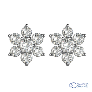 Diamond Flower Stud Earrings in 9K White Gold (0.66ct tw)