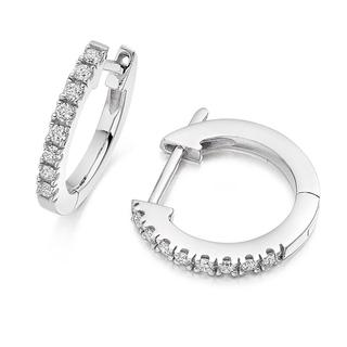 Classic Claw-Set Hoop Earrings In 9K White Gold (0.32ct tw.)