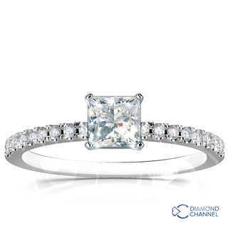 French Pave Diamond Engagement Ring (0.58ct tw)