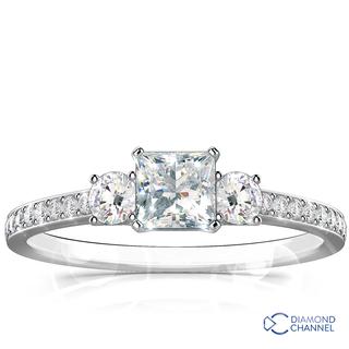Trio Princess Cut and Round Brilliant Cut Pave-Set Diamond Engagement Ring (0.55ct tw)