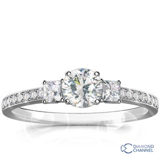 Trilogy Princess Cut Pave Diamond Engagement Ring (0.92ct tw)