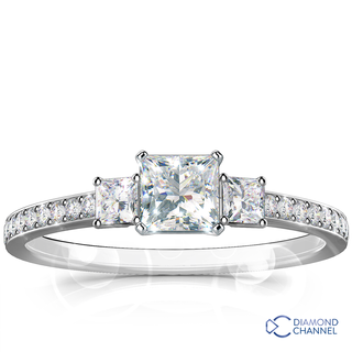 Claw Set Round Trio Diamond Engagement Ring (0.57ct tw)