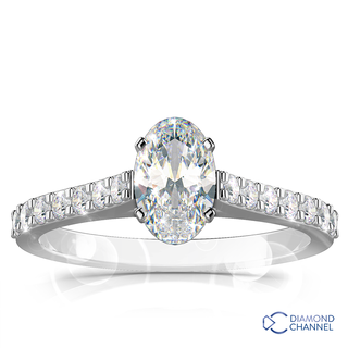 Oval Pave Set Diamond Engagement Ring (0.63ct tw)