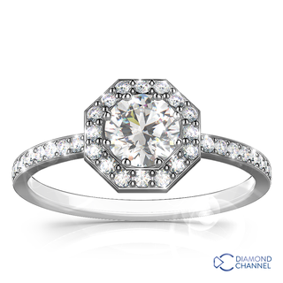 Octagon Halo Engagement Ring in 9k White Gold (0.88ct tw)