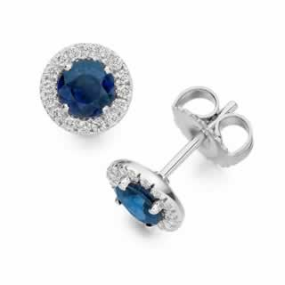 Round Sapphire and Diamond Stud Earrings in 18K White Gold
