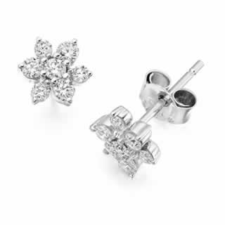 Rose Petal Diamond Stud Earrings In 9K White Gold (0.56ct. tw.)