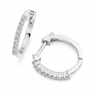 Claw Set Hoop Diamond Earrings in 9K White Gold (0.54ct. tw.)