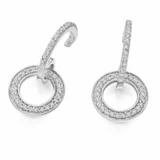 Diamond Circle Of life Drop Earrings In 9k (1.00ct.tw.)