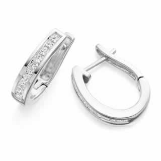 Princess Cut Channel-Set Diamond Hoop Earrings In 9K White Gold(0.48ct tw)