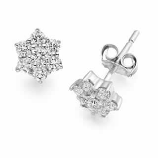 Diamond Cluster Earrings set in 9k White Gold (0.90ct .tw.)