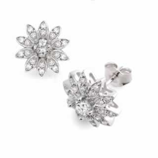 Diamond Cluster Flower Design Earrings In 9k White Gold (0.60ct. tw.)