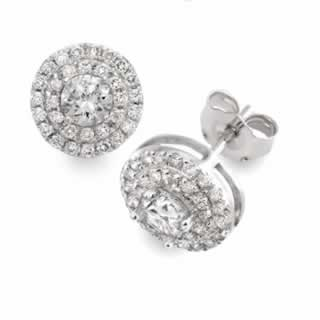 Round Double Halo Stud Earrings in 18K White Gold (1.50ct.tw.)