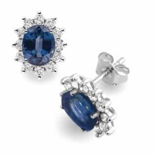 Classic Round Sapphire and Diamond Earrings in 18k White Gold (1.00ct. tw.)