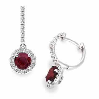 Ruby and Diamond Halo Drop Earrings in 9K White Gold