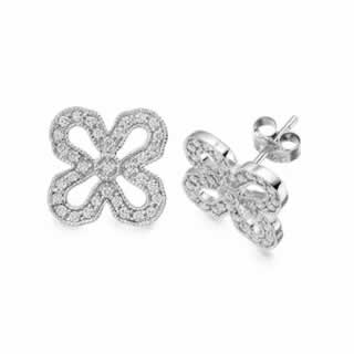 Butterfly Shape Diamonds Stud Earrings In 9K White Gold(0.70ct. tw.)