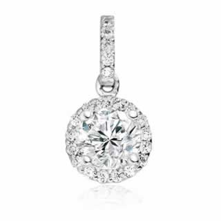 Halo Diamond Pendant in 9K White Gold (0.55ct tw )
