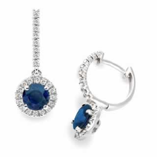 Diamond and Blue Sapphire Hoop Earrings in 9k White Gold (0.48ct tw)