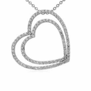 Duet Heart Diamond Pendant in 9K White Gold (1.04ct tw)