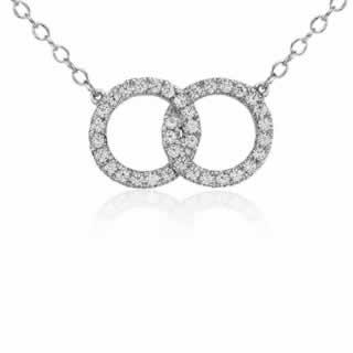 Infinity Ring Diamond Pendant in 9K White Gold (0.36ct tw)