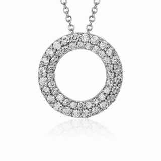 Double Circle Diamond Pendant in 9K White Gold (0.72ct tw)