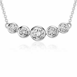 Bezel Bar Diamond Necklace in 9K White Gold (0.45ct tw)