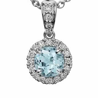 Aquamarine and Micropave Diamond Halo Pendant in 9K White Gold
