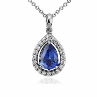 Pear Shape Tanzanite and Diamond Pendant in 9K White Gold (0.20ct tw)