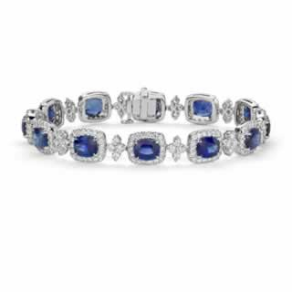 Cushion Blue Sapphire and Halo Diamond Bracelet in 9K White Gold (1.52ct tw)
