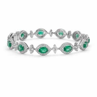 Green Oval tourmaline and Diamond Halo Bracelet in 18K White Gold (1.47ct tw)