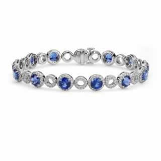 Blue Sapphire and Open Circle Pave Diamond Bracelet in 9K White Gold (1.49ct tw)