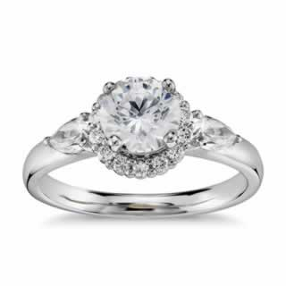 Halo Diamond Ring In 9K White Gold (0.73ct tw)