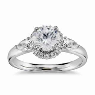 Halo Diamond Ring In 9K White Gold (0.73ct tw)